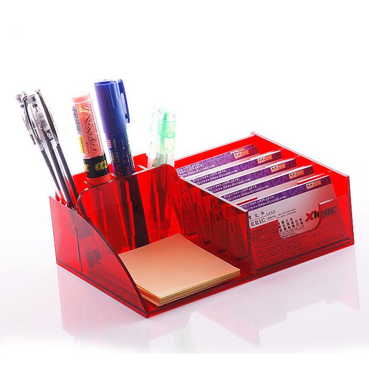 #Model-XI8050半透明紅色亞加力名片盒,亞加力筆筒